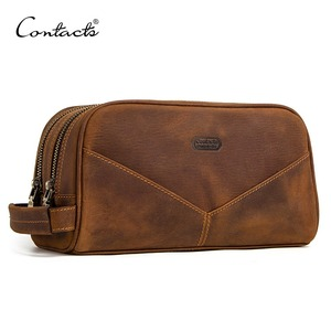 Image 1 - CONTACTS genuine leather cosmetic bag for men vintage crazy horse leather man make up bags small travel bags male toiletry bag