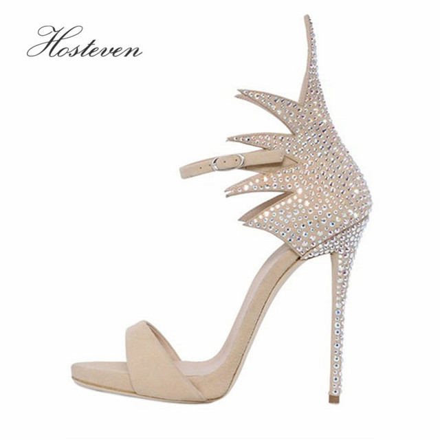 Hosteven Summer Women's Shoes Sandals High Heels Pumps Women Crystal Sandals Wedding Ankle Strap Women Sandals Size 34-46