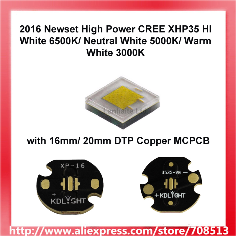 2016 Newset High Power CREE XHP35 HI White 6500K/Neutral White 5000K/Warm White 3000K LED Emitter Or 16mm/20mm Copper Board