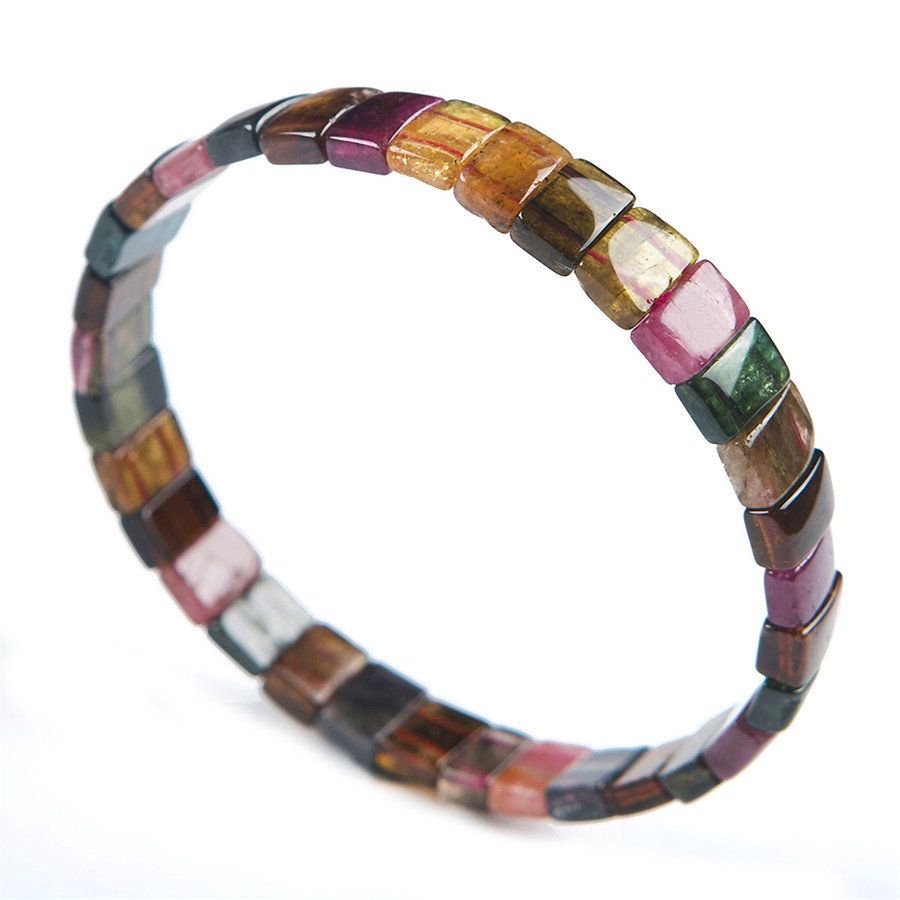 Genuine Natural Crystal Rectangle Beads Colorful Tourmaline AAAAA Fashion Stretch Bracelet Women Gift 9*7*4mmGenuine Natural Crystal Rectangle Beads Colorful Tourmaline AAAAA Fashion Stretch Bracelet Women Gift 9*7*4mm