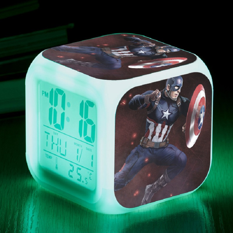 Marvel The Avengers Captain America 3 Super Heroes Spider man Iron Man Led Alarm Clock Vinyl Night Light Action Figure Toys