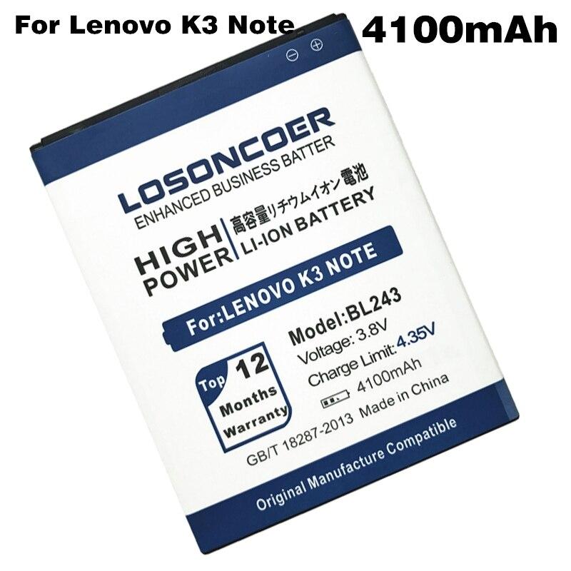 imágenes para BL243 LOSONCOER 4100 mAh para Lenovo K3 Batería Nota K50-T5 A7600-M A7000 Teléfono Envío Libre + Número de Pista en línea