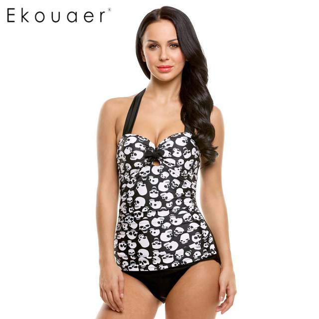 183c72ca9036a Ekouaer 2018 One Piece Swimsuit New Plus Size Swimwear Women Print Swimwear  Vintage Retro Bathing Suits Monokini Swimsuit 4XL
