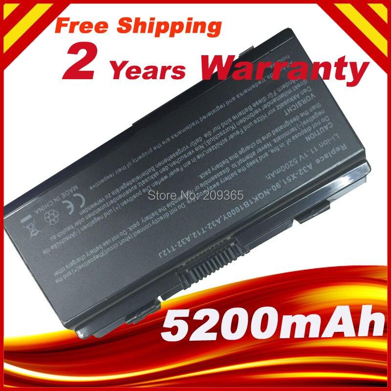 6 cellules 5200 MAH remplacement de la batterie pour ASUS X51R X51H X51L X51RL T12 T12C T12Er T12Fg T12Jg T12Mg T12Ug A32 X51 livraison gratuite
