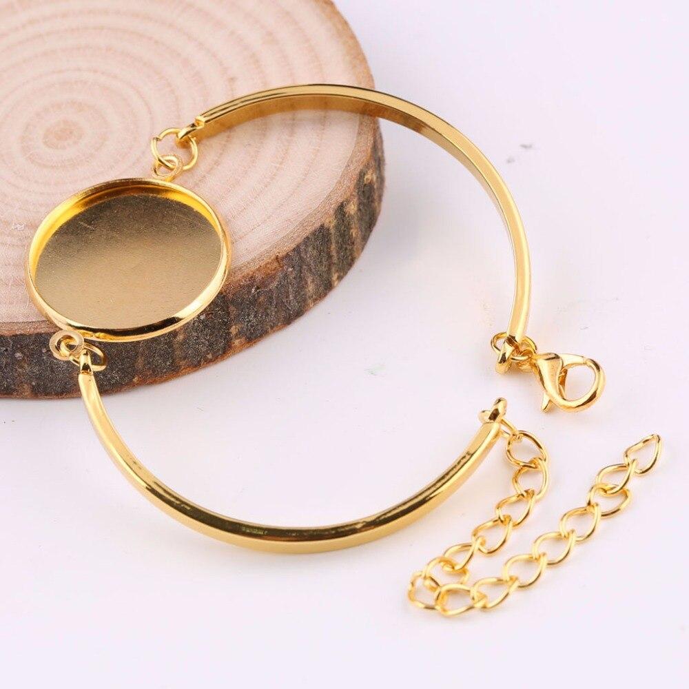 6 OVAL PADS 20mm per bracelet 5 SILVER +5 GOLD Lot of 10 BRACELET Blanks Forms