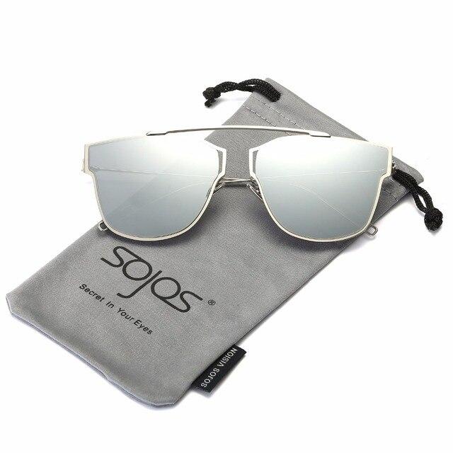 b68c0996cf SOJOS New brand fashion Cat Eye unisex sunglasses women brand designer 2017  luxury metal frame Mirror glasses UV400 gg SJ1008