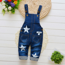 DIIMUU Kids Fashion Boys Girls Clothing Denim Pants Casual Overalls Newborn Baby Rompers Star Printing Outerwear Jeans Trousers