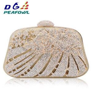 Женский вечерний клатч с кристаллами, украшенный кристаллами и стразами, с металлическими вырезами, сумочка-кошелек