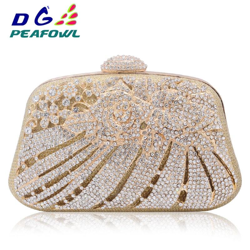 New Style Metallic Hollow Out Crystal Floral Women Evening Clutch Bag Bridal Wedding Rhinestones Knucklebox Purse Handbag
