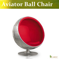U BEST Retro Space Aluminum Preserved Egg Chair Fiberglass Oval Eye Ball Chair With Fabric Upholstery