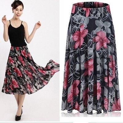 d81f16bffee Sheer Skirts 2014 New Spring Summer Fashion Womens Casual Saia Longa Saias  Feminina Floral Skirts female Ice silk faldas
