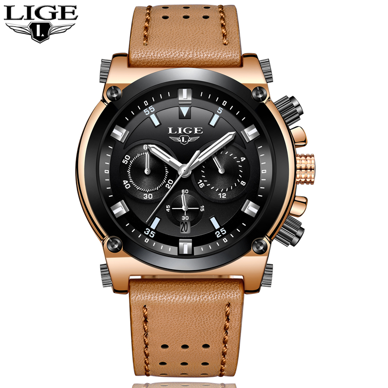 2018 New LIGE mens watches top brand luxury quartz watch men leather military sports watch waterproof clock Relogio Masculo+ box new chenxi clock watches men top brand luxury mens leather wristwatches men s quartz popular sports watch relogio masculino