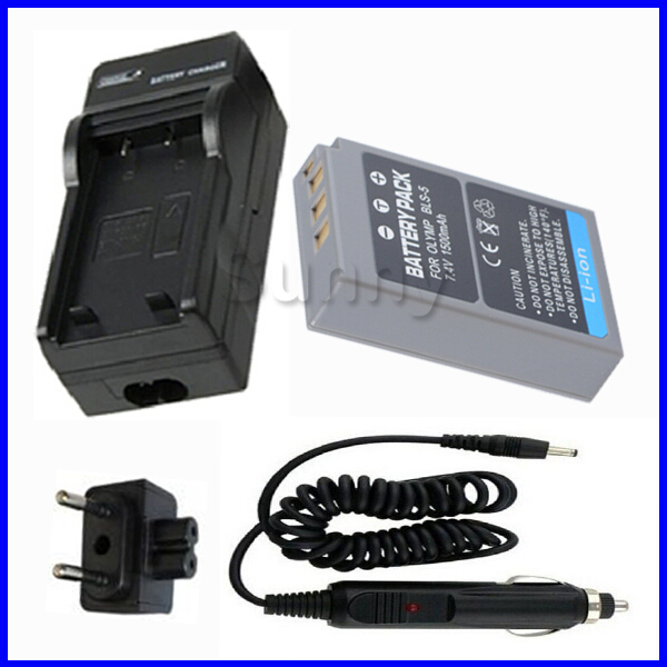 PS-BLS5 Battery + Charger for Olympus OM-D OMD <font><b>E</b></font>-M10, <font><b>E</b></font> PL2, <font><b>PL5</b></font>, PL6, PL7, PM2, Stylus 1, Stylus 1s Digital Camera