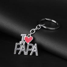 I LOVE PAPA for Father Men Keychain Dad Father's Day Gifts Silver Heart Love Letter Key Chain Pendant Circle Car Keychain Women