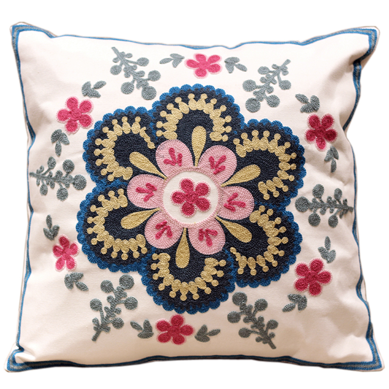 Modern Design Flowers 100 Cotton Embroidery Sofa Cushion Covers White Trendy Designer Interior Decoration Home