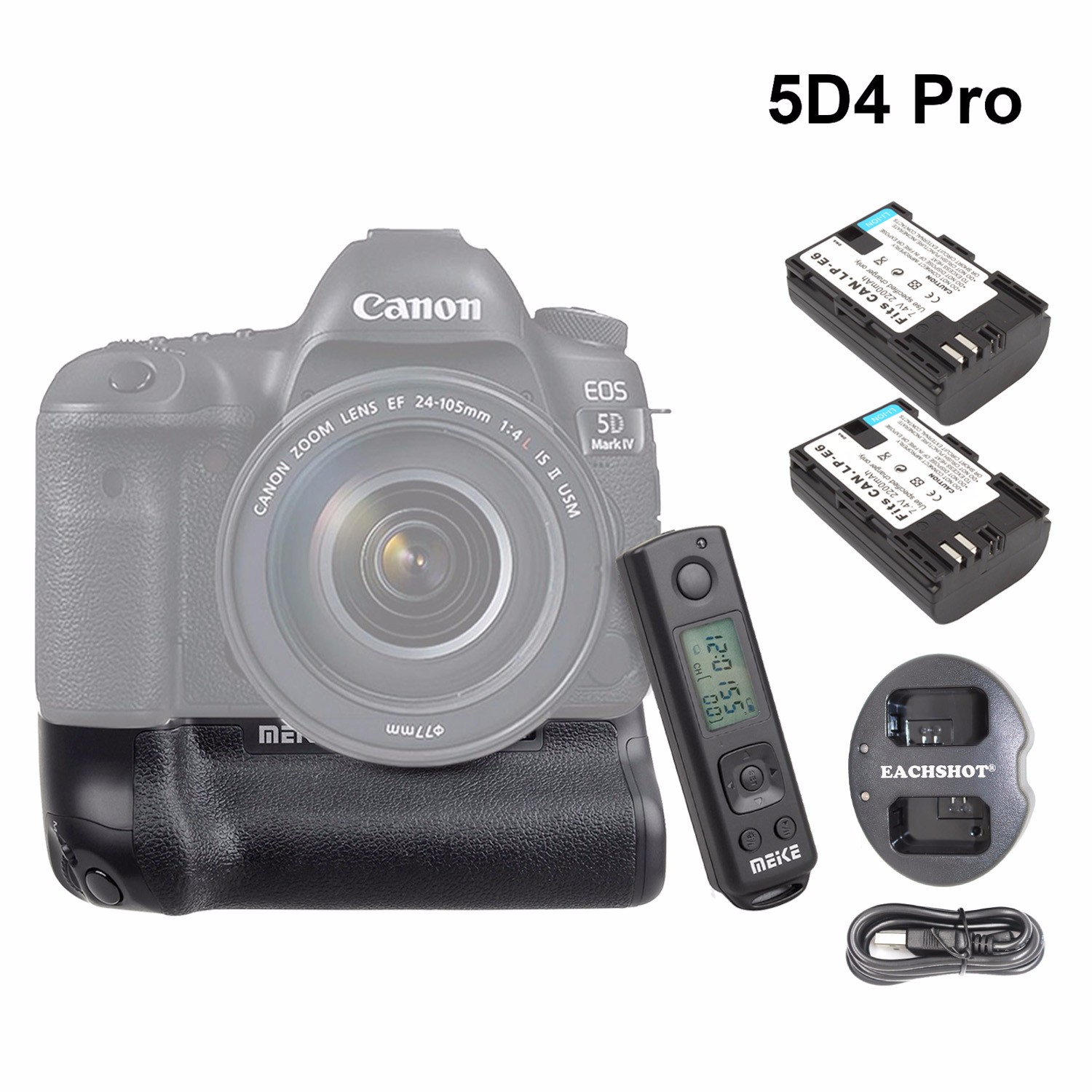 Meike MK-5D4 PRO Battery Grip With 2.4G Wireless Remote for Canon 5D Mark IV Camera as Canon BG-E20 w/ LP-E6 Battery & Charger