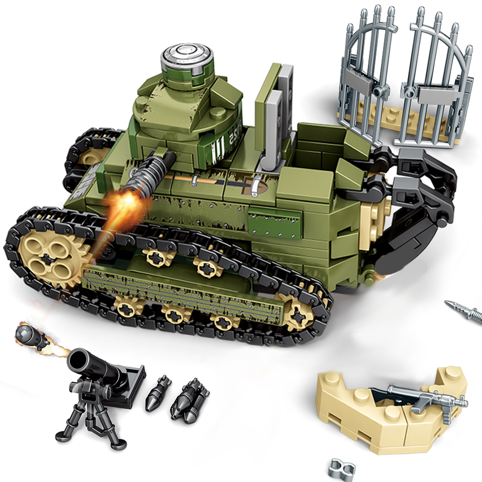 Military WW2 Renault FT17 Tank Building Blocks Army Soldiers Figures Weapon Bricks Sets Children Educational Toys Gifts
