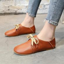 Women Shoes Basic Flats PU Leather Lace-up 2018 Ladies Fashion Causal Best Sellers Student Loafers Europe Luxury Design