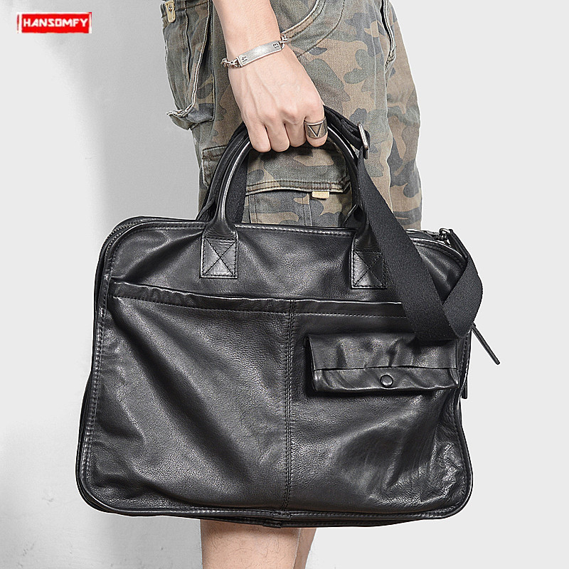 First Layer Cowhide Men's Briefcases Retro Genuine Leather Handbag Soft Black Leather Business Computer Shoulder Bag Briefcase