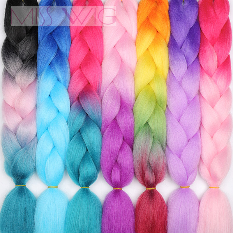 Miss Wig Ombre Kanekalon Jumbo Braids 24inch Synthetic Hair Crochet Extensions For Women Blue Red 88colors Available
