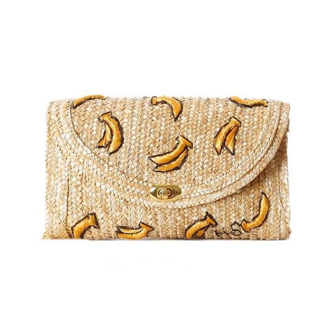 2015 Fruit Banana Stereoscopic Embroidery Summer Beach Straw Bag Cute Straw Bag Cross Body Women Chain Shoulder Bag