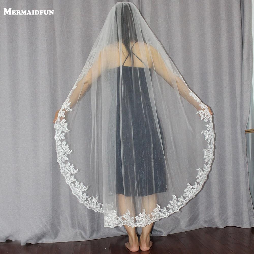 1,4 metri viens slānis mežģīņu malu īsās kāzu plīvurs ar ķemmi Jauns kāzu aksesuāri balts ziloņkaula līgavas plīvurs Voile De Mariee