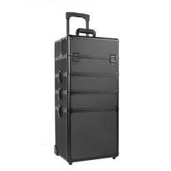 Carro 5 en 1 Gran espacio de almacenamiento caja de belleza maquillaje uñas cosmético tocador caso negro