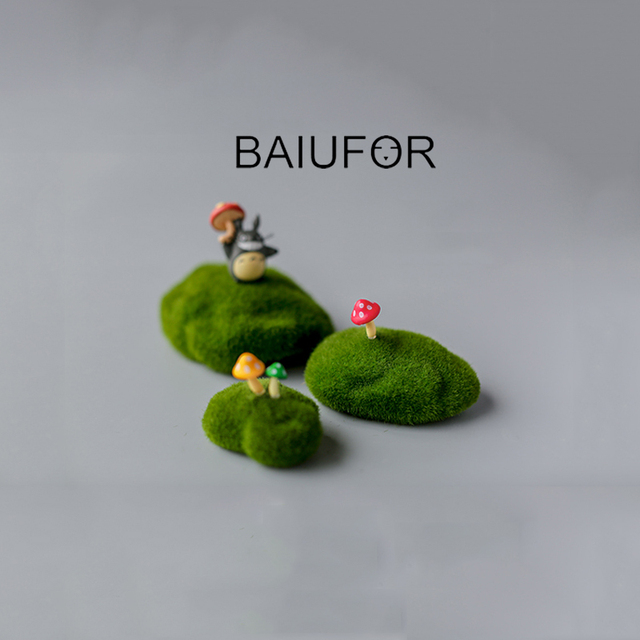 Baiufor Flocking Moss Stone Foam Rock Model Fairy Garden Miniatures