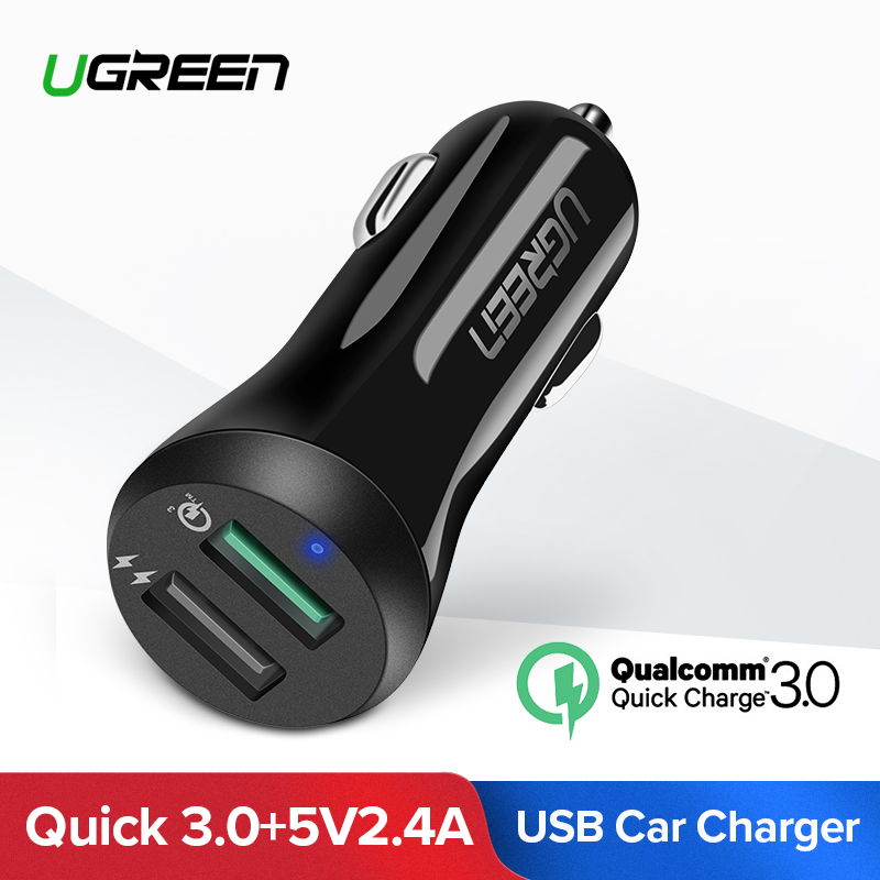 Ugreen Auto USB Ladegerät Schnell Ladung 3,0 Handy Ladegerät Dual USB Schnelle QC 3,0 Auto Ladegerät für Samsung Xiaomi tablet Ladegerät