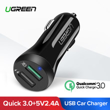 Ugreen Car USB Charger Quick Charge 3.0 Mobile Phone Charger Dual USB Fast QC 3.0 Car Charger for Samsung Xiaomi Tablet Charger(China)