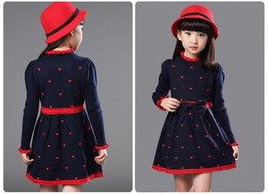 Image 4 - Зимнее Хлопковое платье с высоким воротом для девочек, платье принцессы с длинными рукавами, детская одежда красного, синего цвета