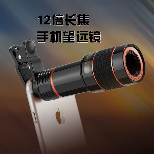 12x teleobjetivo zoom universal telescopio con clips de lentes de cámara del teléfono móvil para el iphone samsung htc huawei xiaomi lentes