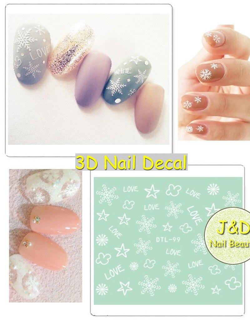 FOREVERJASMINE 24 stücke Handzeichnung Snowflake Nail art Aufkleber ...