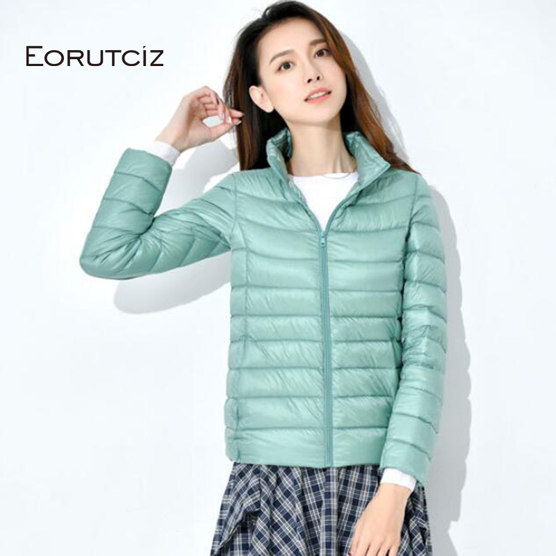 EORUTCIZ Spring Plus Size 4XL   Down     Coat   Women Ultra Light Short Duck   Down   Jacket Slim Vintage Black Autumn   Coat   LM351