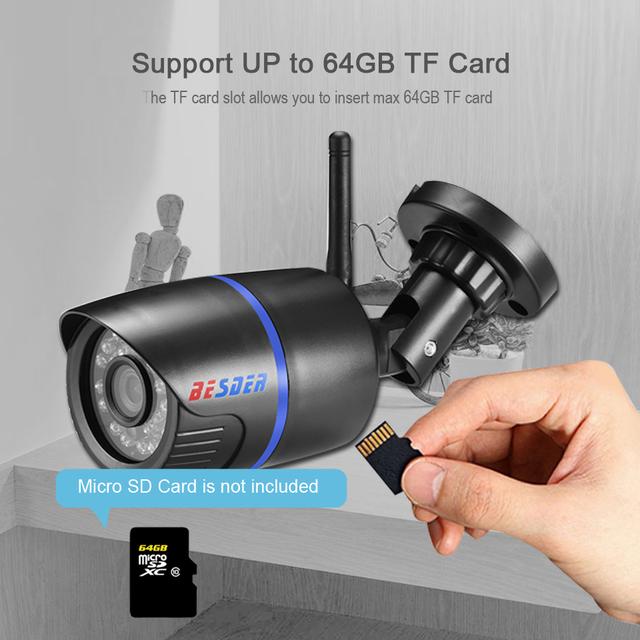 BESDER HD 1080P 960P 720P Wireless IP Camera Yoosee P2P RTSP Motion Detected Waterproof WiFi Camera Bullet with 64G SD Card Slot