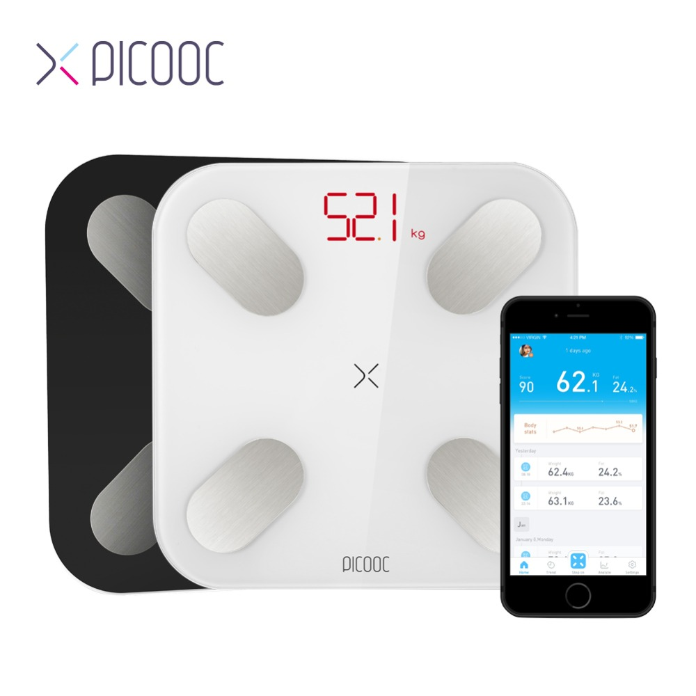 PICOOC Mini Smart Weighing Scale Weights Scales Digital Body Fat Scales Bathroom Scales Floor Electronic Outdoor Scale with APP