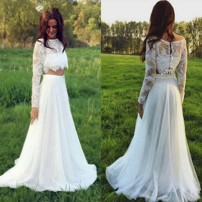 2017 two pieces lace wedding dresses plus size long for Plus size wedding dresses with color and sleeves