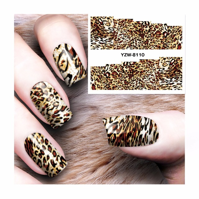 YZWLE 1 Sheet Nail Water Decals Leopard Designs Transfer Stickers ...