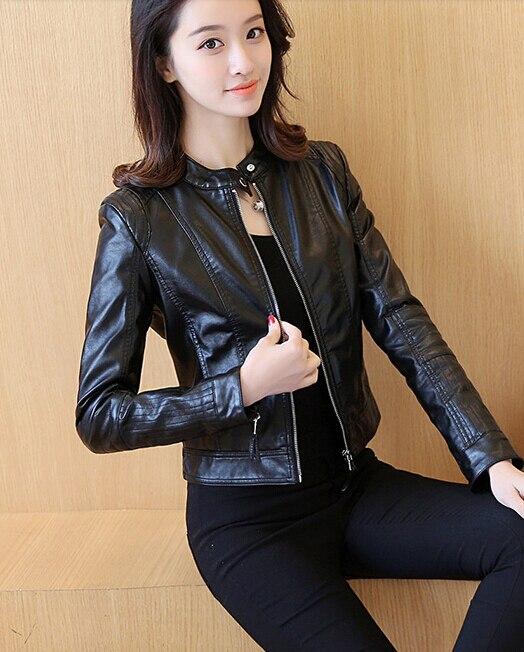 Women Leather Jacket Single Pimkie Washed PU Leather Motorcycle Jacket PIMKIE Jacket Slim Female Soft Leather Large black pink