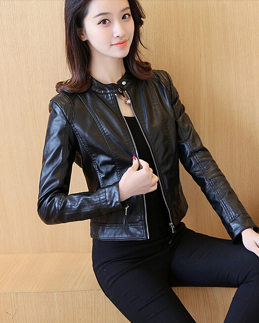 Women   Leather   Jacket Single Pimkie Washed PU   Leather   Motorcycle Jacket PIMKIE Jacket Slim Female Soft   Leather   Large black pink