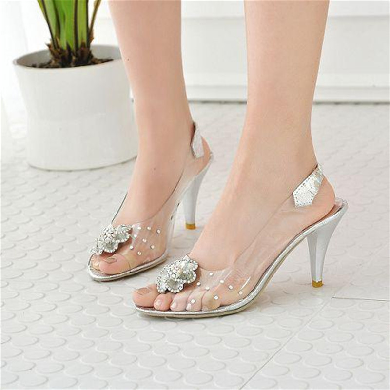 7b6cf6ae5ef Cinderella glass slipper 2015 women transparent crystal wedding rhinestone  prom high heel sandals woman shoes sandalias mujer 45
