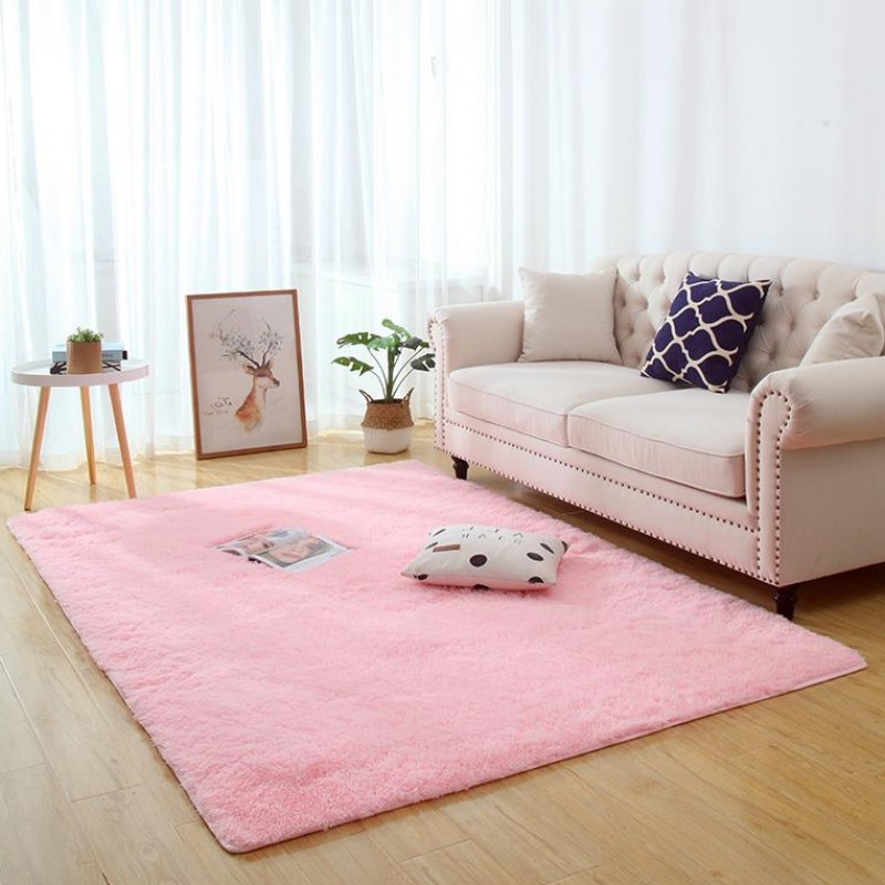 Nordic Pink Living Room Carpet Long Hair Bedside Blanket Living Room Coffee Table Rug Girl Room Bedroom Floor Mat Non-slip Rug