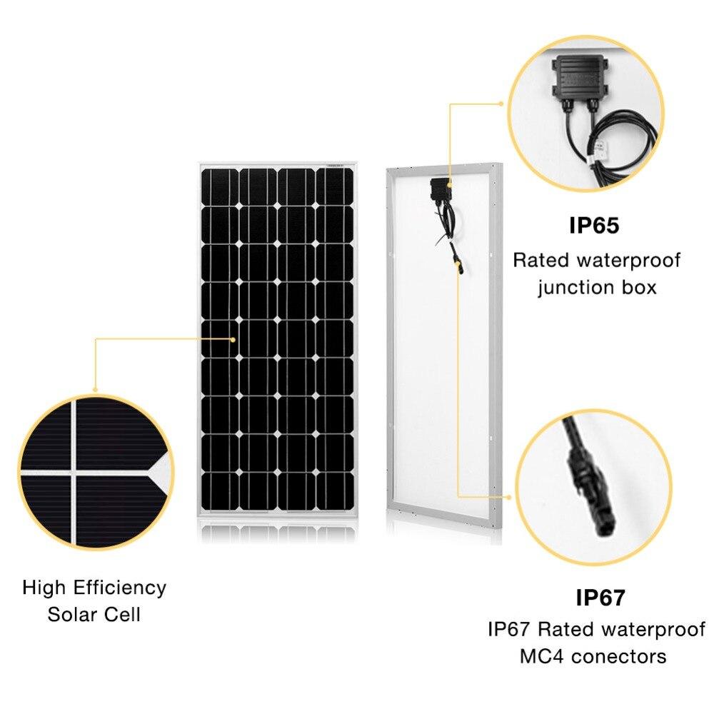 Dokio Marque panneau solaire Chine 100 W Monocristallin De Silicium 18 V 1175x535x25 MM Taille Top qualité Solaire batterie Chine # DSP-100M - 3