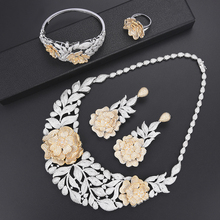 SisCathy Fashion Women Gold Jewelry Sets Shiny Blooming Flowers Crystal Christmas Accessories Nigerian Bridal Wedding Jewellry