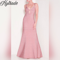 Hytrade HL Fashion Elegant Pink Evening Gown Prom Formal Party Vestidos Cutout Front V Neck Strappy Rayon 90% Bandage Maxi Dress