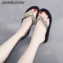 JIANBUDAN/ Womens casual flat beach shoes Rhinestone decoration Fashion flip flops Summer non-slip slippers Size 5-7.5