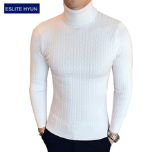 2017 Solid sweaters men high Turtleneck mens sweaters pullover autumn winter knitwear knitted dress male