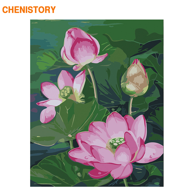 Chenistory Frame Lotus Flower Diy Painting By Numbers Modern Home