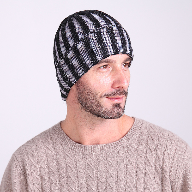 Wholesale Foreign Trade Double - Color Striped Wool Autumn Winter Men And Women Outdoor Warm Knitted Cap Ski Hat
