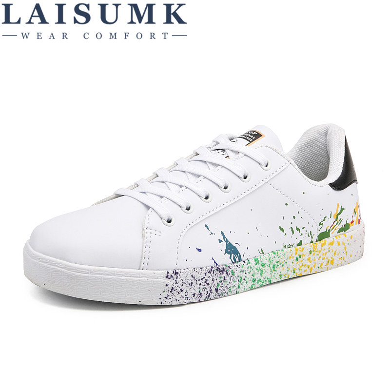 LAISUMK Boys Brand White Shoes Mix Colors Ink Painting Mens Shoes Colorful White man 39 s Shoes Plus Large Size US 11 12 Euro 45 46 in Men 39 s Casual Shoes from Shoes